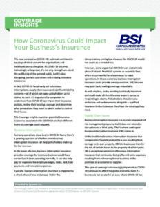 Coronavirus impact your insurance